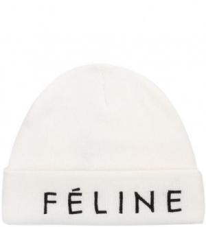 Белая шапка с вышивкой ALCOTT. Цвет: белый