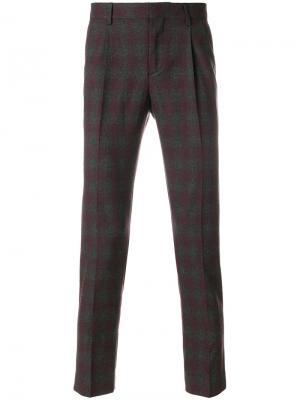 Клетчатые брюки строгого кроя Entre Amis. Цвет: серый