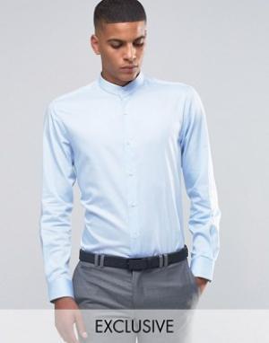 Number Eight Savile Row Рубашка скинни в полоску. Цвет: синий