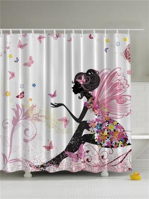 Фотоштора для ванной Мечты цветочной феи, 180*200 см Magic Lady. Цвет: белый, красный, молочный, розовый, черный