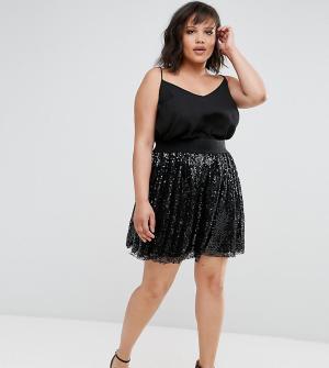 Elvi Плиссированная юбка с кружевом и пайетками. Цвет: черный
