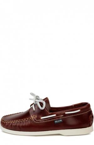 Кожаные топсайдеры с контрастным шнурком Atlanta Mocassin. Цвет: коричневый