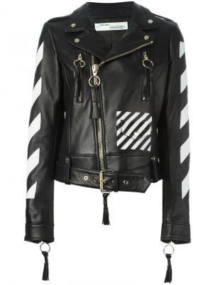 Байкерская куртка с логотипом Off-White. Цвет: чёрный