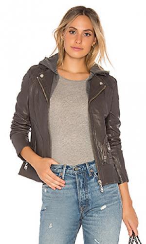 Куртка vintage zip out hood leather DOMA. Цвет: серый