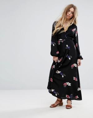 Rollas Платье макси с цветочным принтом. Цвет: черный