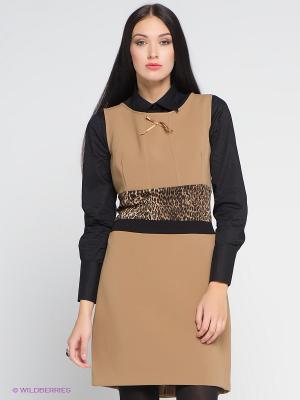 Платье COMPAGNIA ITALIANA. Цвет: темно-бежевый
