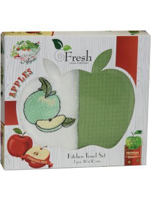 Кухонные полотенца в подарочной коробке ЛЮКС  2 шт., 30х50 см, 100% хлопок Dorothy's Нome. Цвет: зеленый, кремовый