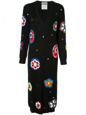 Длинное платье-кардиган с бусинами Moschino. Цвет: чёрный