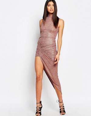 Club L Платье в рубчик с отворотом и высокой горловиной эффектом металлик C. Цвет: коричневый