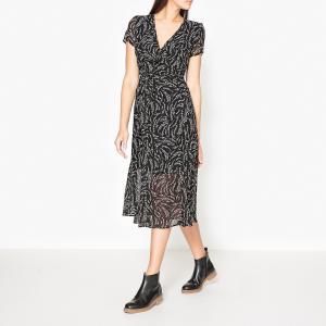Платье с рисунком IKKS. Цвет: черный