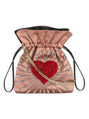 Trilly heart embellished shoulder bag Les Petits Joueurs. Цвет: телесный