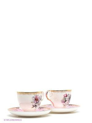 Чайный набор на 2 перс. Цветок Неаполя Pavone. Цвет: белый, розовый