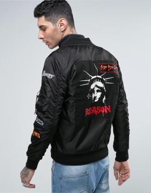 Reason Куртка-пилот с нашивками. Цвет: черный