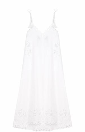 Кружевное платье-макси свободного кроя Theory. Цвет: белый