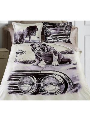 Комплект постельного белья 2сп (Pet) н(2)70*70 н(2)50х70 SL сатин панно Mona Liza. Цвет: серый