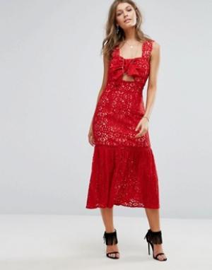 Foxiedox Кружевное платье миди с бантом спереди. Цвет: красный