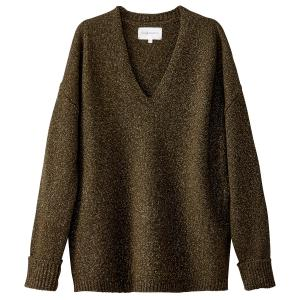 Пуловер из плотного трикотажа с V-образным вырезом SUD EXPRESS. Цвет: хаки