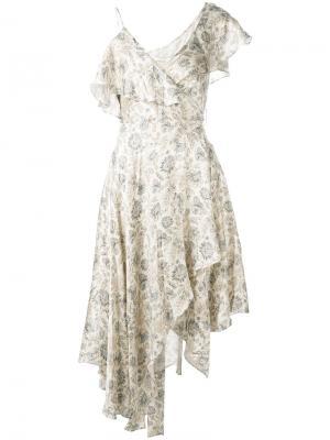 Асимметричное платье с принтом пейсли Zimmermann. Цвет: телесный