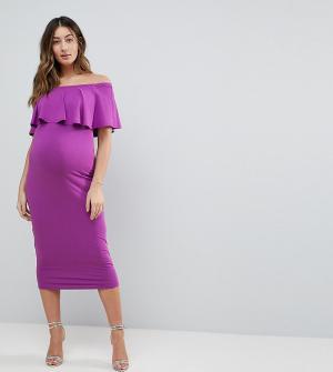 ASOS Maternity Платье-футляр миди с вырезом лодочкой и оборкой. Цвет: мульти