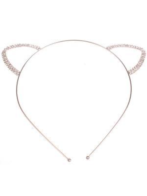 Металлические ободочки круглые серебро, ушки в стразах Радужки. Цвет: серебристый