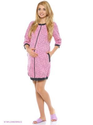 Халат для беременных и кормящих на молнии с рукавом 3/4 Hunny Mammy. Цвет: розовый