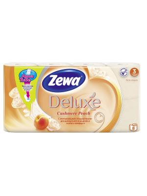 Туалетная бумага Zewa Deluxe Персик, 3 слоя, 8 рулонов. Цвет: розовый
