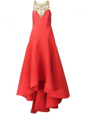 Платье с вышивкой Marchesa Notte. Цвет: красный