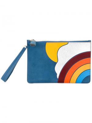 Клатч с отделкой в форме радуги Anya Hindmarch. Цвет: синий