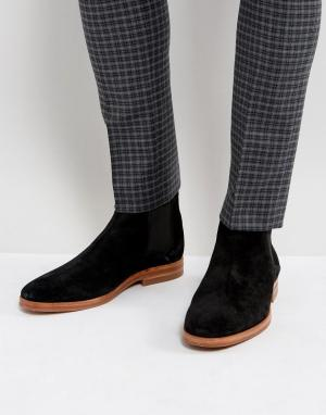 Hudson London Замшевые черные ботинки челси. Цвет: черный