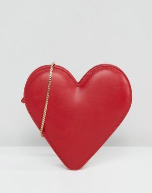 Lulu Guinness Кожаная сумка через плечо с сердцем. Цвет: красный