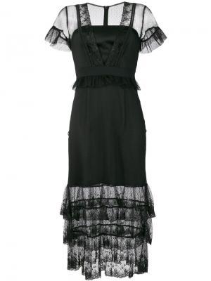 Многослойное платье Montana Three Floor. Цвет: чёрный
