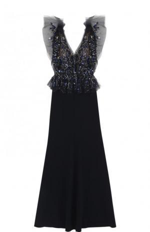 Приталенное платье-макси с декорированным лифом Jenny Packham. Цвет: темно-синий