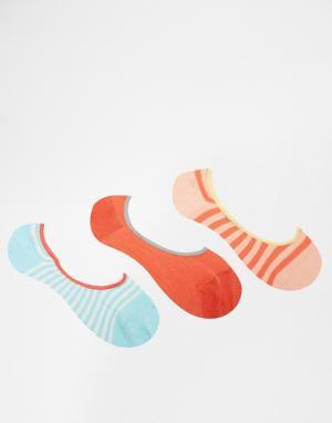 Penguin 3 пары носков в синюю и белую полоски. Цвет: синий