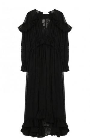 Приталенное шелковое платье-миди с V-образным вырезом Zimmermann. Цвет: черный