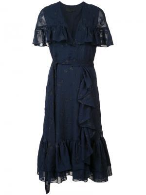 Платье с оборками и поясом Co. Цвет: синий