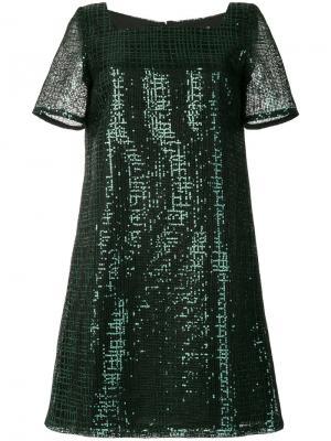 Платье с квадратным вырезом и пайетками Goat. Цвет: зелёный