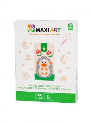 Набор для Творчества. Чехол Телефона Ежик MAXITOYS. Цвет: бледно-розовый, оранжевый, зеленый, серый