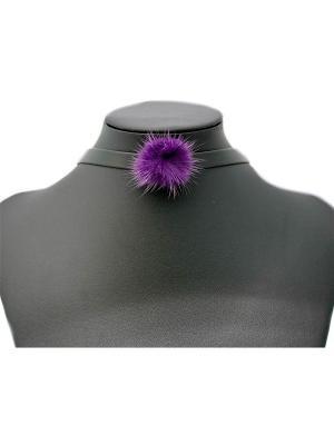 Комплект: чокер и браслет Miss Bijou. Цвет: фиолетовый, черный