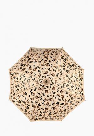 Зонт-трость Moschino. Цвет: бежевый
