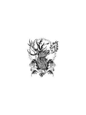 Временная переводная татуировка Брутальный Олень МнеТату. Цвет: черный