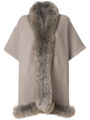 Накидка с лисьим мехом N.Peal. Цвет: серый