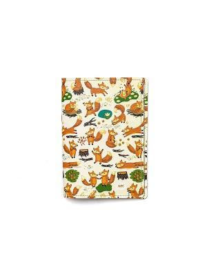Обложка для паспорта  Лисики 2 TonyFox. Цвет: оранжевый, желтый, белый