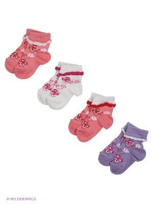 Носки, 4 пары Гамма. Цвет: персиковый, белый, фиолетовый