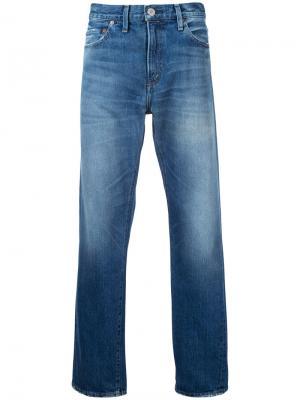 Широкие выбеленные джинсы Red Card. Цвет: синий