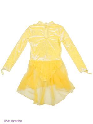 Гимнастический купальник EMDI. Цвет: светло-желтый, горчичный, светло-оранжевый