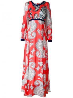Длинное платье с принтом пейсли Manoush. Цвет: красный