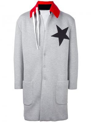 Пальто с контрастным воротником Nicola Indelicato. Цвет: серый