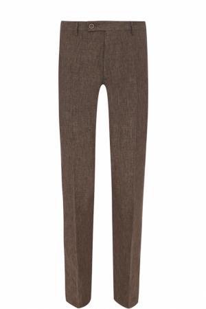 Льняные брюки прямого кроя Berwich. Цвет: коричневый