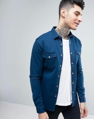 ASOS Джинсовая выбеленная рубашка скинни в стиле вестерн. Цвет: синий