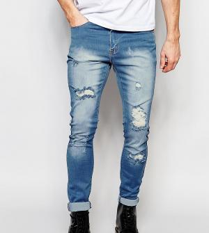 Liquor N Poker Светлые рваные джинсы скинни. Цвет: синий